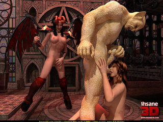 Horny creature fucks a female gargoyle and a - Cartoon Sex - Picture 2