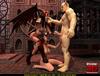 Horny creature fucks a female gargoyle and a busty human slut