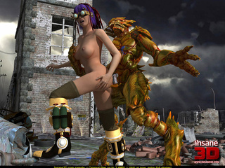 Busty cyber punk slut gets rammed by an alien - Cartoon Sex - Picture 3