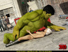 Well hung Hulk fucks a blonde whore in the street