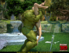 Muscled green dude fucks a busty lady outdoors