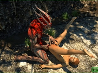 Super hot darling gets fucked by a red monster - Picture 4