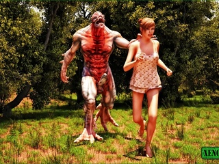 Freaky monster is ready to bang a sweet gal outdoors - Picture 1