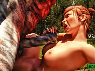 Freaky monster is ready to bang a sweet gal outdoors - Picture 5