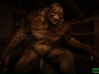 Giant monster is ready to fuck this short haired - Picture 1