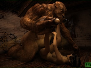 Giant monster is ready to fuck this short haired - Picture 4