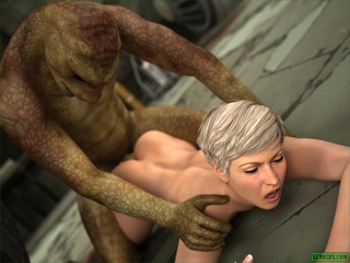 Green creature fucking a short haired blonde gal so - Picture 4