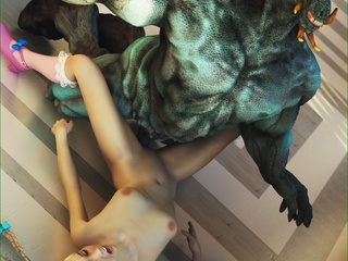 Green dragon is ready to fuck a blonde schoolgirl - Picture 4