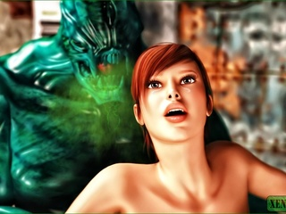 Green creature fucks a redhead and gives her a facial - Picture 1