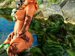 Tattooed slut gets rammed by a green swamp creature - Picture 3