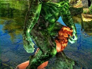 Tattooed slut gets rammed by a green swamp creature - Picture 5