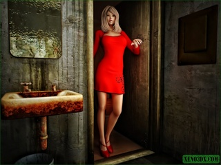 Blonde gal in red gets nailed by a horny monster - Picture 1