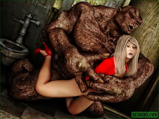 Blonde gal in red gets nailed by a horny monster - Picture 3