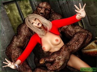 Blonde gal in red gets nailed by a horny monster - Picture 4