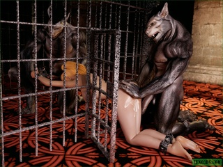 Caged blonde slut shares two beastly meat poles - Picture 5
