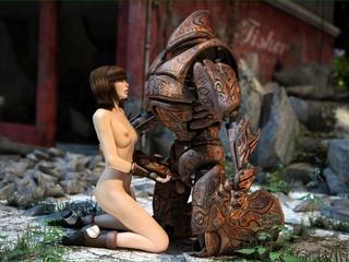 Horny robot fucks a slender brunette chick so hard - Picture 5