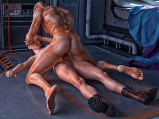 Well endowed alien violates a slutty brunette lady - Picture 2