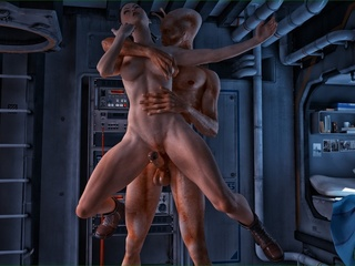 Well endowed alien violates a slutty brunette lady - Picture 3