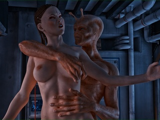 Well endowed alien violates a slutty brunette lady - Picture 4