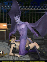 Busty Lara Croft is ready for some huge gargoyle - Picture 1