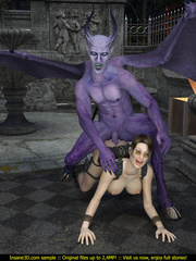 Busty Lara Croft is ready for some huge gargoyle - Picture 3
