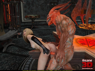 Evil red monster fucking a slutty blonde gal so well - Picture 2