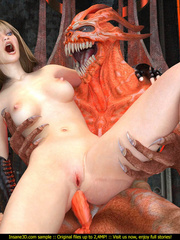 Evil red monster fucking a slutty blonde gal so well - Picture 3