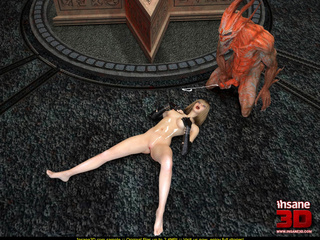Evil red monster fucking a slutty blonde gal so well - Picture 4