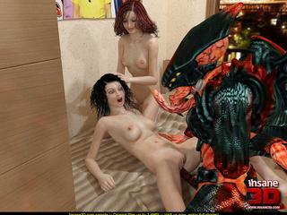 Two ladies sharing alien's big dick and his green - Picture 3