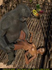 Well hung gorilla enjoys in a tight black pussy - Picture 1