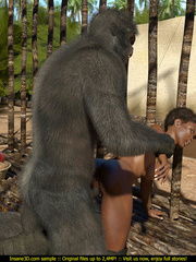 Well hung gorilla enjoys in a tight black pussy - Picture 2