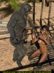 Well hung gorilla enjoys in a tight black pussy - Picture 3