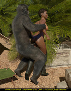 Short haired ebony model gets rammed by a nasty gorilla