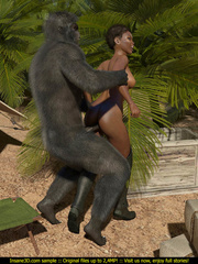 Well hung gorilla enjoys in a tight black pussy - Picture 4