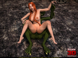 Naughty redhead lady with pig tails fucked by a green - Picture 1