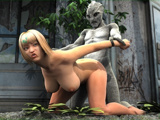 Alien with a huge dick wants to please this - Cartoon Sex - Picture 4