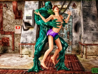 Giant green monster fucking a short haired - Cartoon Sex - Picture 2