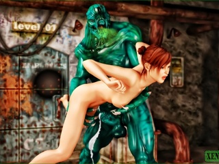 Giant green monster fucking a short haired - Cartoon Sex - Picture 3