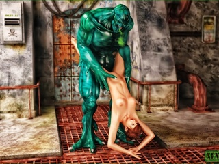 Giant green monster fucking a short haired - Cartoon Sex - Picture 4