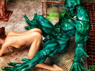 Giant green monster fucking a short haired - Cartoon Sex - Picture 5