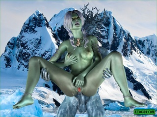 Horny green girl gets a blue dick in her - Cartoon Sex - Picture 4