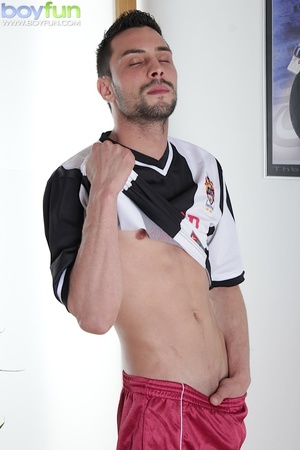 Gorgeous rugby player Lukas Novy strokes his beautiful dick into his sock - XXXonXXX - Pic 2