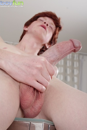 Adorable ginger soccer player with cute tattoos rubs his huge, thick cock - XXXonXXX - Pic 14
