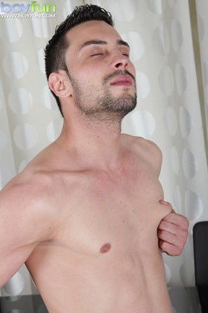 Delicious preppy Lukas Novy strokes his small dick and spreads his tight ass - XXXonXXX - Pic 4