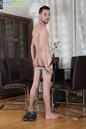 Delicious preppy Lukas Novy strokes his small dick and spreads his tight ass - XXXonXXX - Pic 6