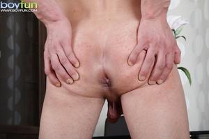 Delicious preppy Lukas Novy strokes his small dick and spreads his tight ass - XXXonXXX - Pic 15
