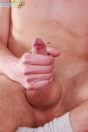 Uncut cutie in jock strap blows his load on his smooth stomach - XXXonXXX - Pic 13