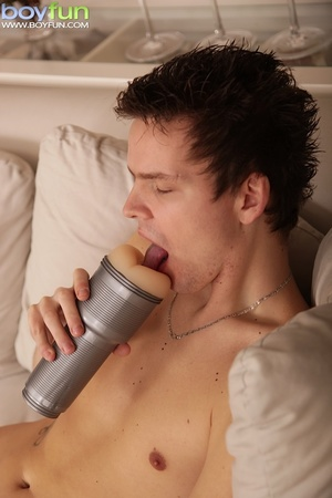 Radiant erotic puppy flashes his cock and plays with his fleshlight - XXXonXXX - Pic 9