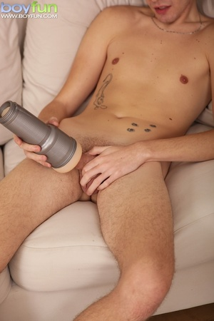 Radiant erotic puppy flashes his cock and plays with his fleshlight - XXXonXXX - Pic 11