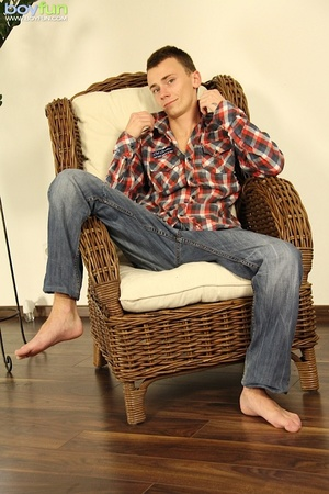 Skinny dude wearing nice clothes undresses and shows off his balls on the couch - XXXonXXX - Pic 1